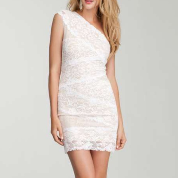 7b70f3383ba4 bebe Dresses | One Shoulder Nude White Lace Fitted Dress | Poshmark